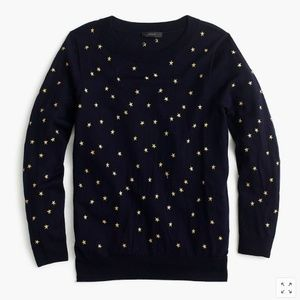 J. Crew Tippi Embroidered Star Crew Neck Sweater